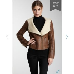 Asymmetrical zip up faux fur GUESS jacket